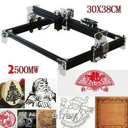 2500MW Mini Laser Cutting Engraving Machine Printer Kit Desktop 300 x 380mm DIY