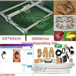 50x65cm 3000MW Area Mini Laser Engraving Cutting Machine Printer Kit Desktop