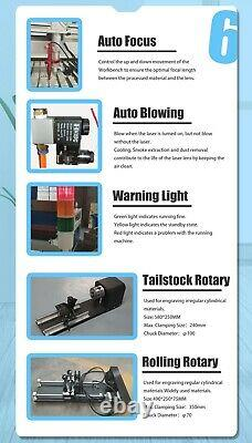 60W CO2 Laser Cutting Engraving Machine 2416 Laser Engraver Cutter Ruida
