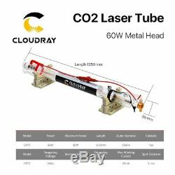 60W CO2 Laser Tube Metal Head 1250mm Glass Pipe for Engraving Cutting Machine