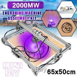 65x50cm 2000mw DIY Desktop Laser Cutting Engraving Machine Printer Engraver Mark