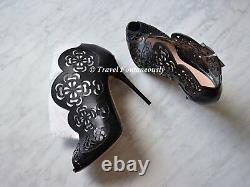Alexander McQueen Floral Engrave Lace Laser Cut Studded Ankle Boot Bootie Sz 36