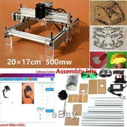 DIY Mini Laser Engraving Cutting Machine Desktop Printer Kit Adjustable 500MW