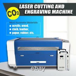 130w Machine De Gravure Laser De Coupe De Co2 900x600mm Cw5000 Chiller D'eau Inclus
