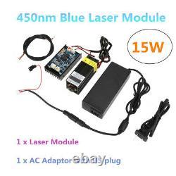 15w Laser Head Gravure Module Avec Ttl450nm Blu-ray Sculpture Sur Bois Outil De Coupe