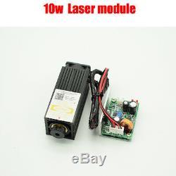 450nm 10w 10000mw Bleu Violet Dot Laser Module Gravure Découpe Ttl Libre Goggle