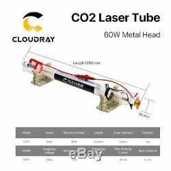60w Laser Co2 Tube Tête En Métal 1250mm Tuyau En Verre Pour La Machine De Gravure De Coupe