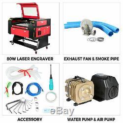 80w Co2 Laser Cutter Machine De Découpage Graveuse Du Bois Air Assist Dsp Contrôle