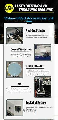 80w Reci W1 Co2 Machine De Découpe Laser Graveur 35x24 Ruida Control Motorized Z