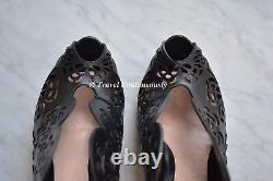 Alexander Mcqueen Floral Engrave Dentelle Laser Coupe Studded Ankle Boot Boot Sz 36