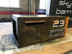 Boîte Aux Lettres Maison De Ferme Enseigne Plaque Corten Rusted Acier Métal Coupe Laser Led