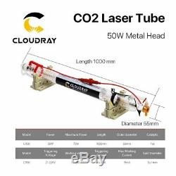 Laser Co2 Tube 50w Metal Head 1000mm Tuyau En Verre Pour La Machine De Gravure De Coupe