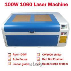 Récipient Laser Dsp Co2 Reci 100w Machine De Coupe 600 1000mm & Cw3000 Ciller Us