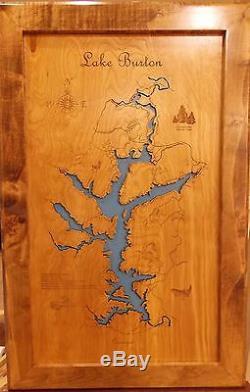 Stunning En Bois 2d Laser Cut, Gravé Lake Cartes Murales Art Nouveau Suspendu! Douane
